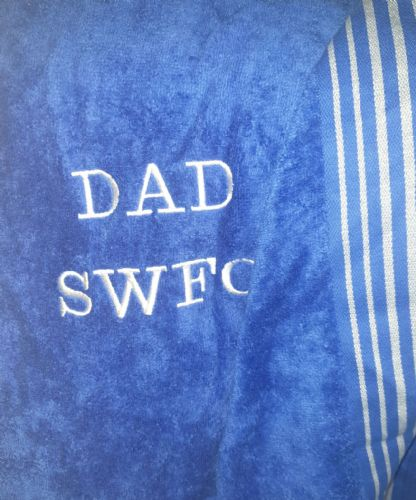 Personalised embroidered swfc blue  beach towel